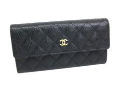 Chanel trifold long wallet caviar black