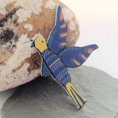 Bird brooch-bird pin-Folk Art bird-blue bird by Slumbermonkey