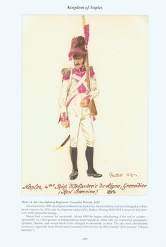 Kingdom of Naples: Plate 14. 4th Line Infantry Regiment, Grenadier Private, 1812.