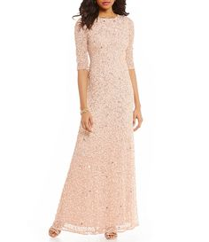 4392b0837b5 Adrianna Papell 3 4 Sleeve Sequin Beaded Column Gown