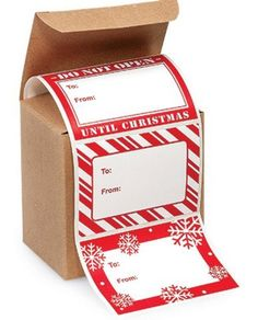 4x2' Trendy Peel N Stick Red and White Snowflakes and Peppermint Stripe Christmas Gift Tags Stickers -72Pack *** New and awesome product awaits you, Read it now  : Christmas Gifts
