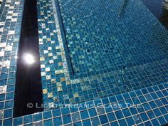* Lightstreams Glass Tile | Gold Iridescent Steel Blue All Glass Tile Spa