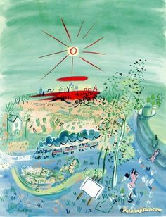 The Blue Train Artwork by Raoul Dufy Hand-painted and Art Prints on canvas for sale,you can custom the size and frame