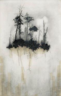 Trees in fog. (breathtaking stillness)  --Drawings by artist Brooks Shane Salzwedel