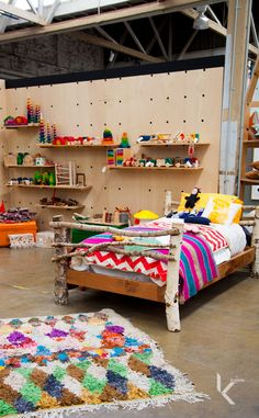 #koskelajuniors // Kids bedrooms are for colour! Great idea for kids bedroom wall - kind of like peg board