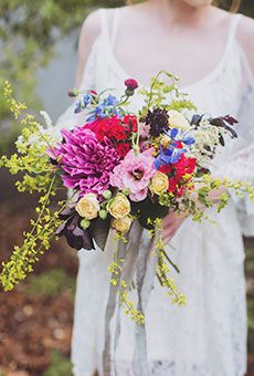 Loose, Colorful Bouquet with Delphinium | Wedding Flowers