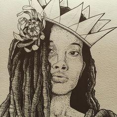Progress.  #art #drawing #design #illustration #wip #dotwork #queen #blackqueen #flower #doodle #sketch #sketchbook #moleskine #moleskineart #dreadlocks #dreadhead #wonderlocks #ink #tattoo #instablackworksubmission #instablackwork @insta_blackwork