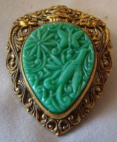 Ornate Vintage Jade Celluloid Brooch in by ChooChooJewelry on Etsy, $18.00