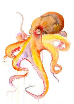 Octopus Watercolor painting Art Print by WatercolorMary on Etsy