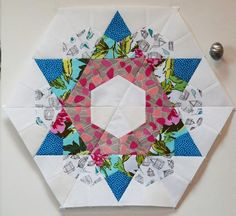 Quilting: Hex Quilt Blocks Like the print on white, kind of blends with background. Paper Piecing Patterns, Quilt Block Patterns, Quilt Blocks, Quilting Tutorials, Quilting Projects, Quilting Designs, Quilting Ideas, Sewing Projects, Hexagon Quilt