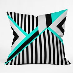 Elisabeth Fredriksson Turquoise Stripe Combination Throw Pillow   DENY Designs Home Accessories