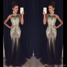 Mermaid Black Long Evening Gowns 2016 Sexy Backless Halter Neck Crystals Sequins Plus Size Formal Celebrity Dresses Custom Made Luxury Elegant Evening Gowns Elegant Gowns From Wanyuweddingdress, $140.87| Dhgate.Com