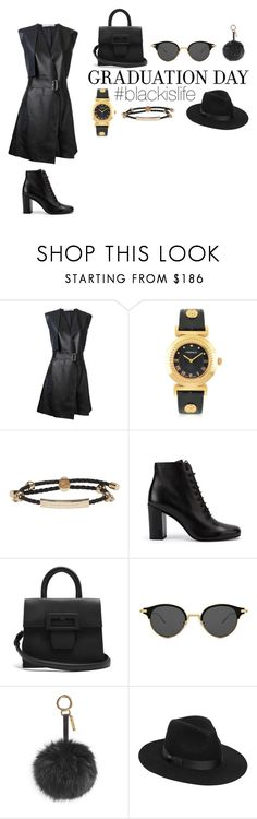 """#blackislife"" by blackislifetag ❤ liked on Polyvore featuring Dion Lee, Versace, Alexander McQueen, Yves Saint Laurent, Maison Margiela, Gentle Monster, Fendi, Lack of Color and BlackisLife"