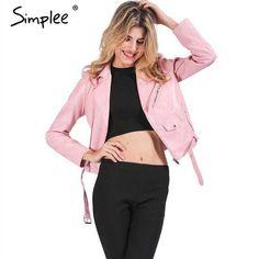650853c452e94 Simplee Zipper PU leather jacket coat Short black motorcycle jacket with pocket  2016 Classic basic winter jacket women outwear