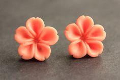 Coral Peach Flower Earrings. Orange Earrings. Silver Post Earrings. Innie Flower Button Jewelry. Stud Earrings. Handmade Jewelry. by StumblingOnSainthood from Stumbling On Sainthood. Find it now at http://ift.tt/2k320Gf!