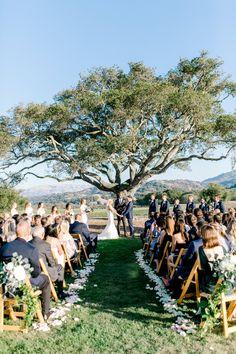 Oak Tree Wedding Ceremony, Monterey CA, The Club at Pasadera – Değiştiriniz Wedding Ceremony Flowers, Wedding Ceremony Decorations, Flower Bouquet Wedding, Church Decorations, Bridal Bouquets, Wedding Centerpieces, Oak Tree Wedding, Monterey Ca, Outdoor Trees