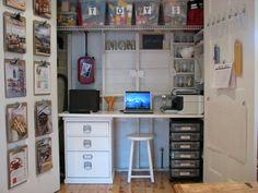 Love this organization idea for the basement closet/office