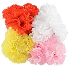 Colorful Faux Carnations, 12 in. How To Make Paper Flowers, Giant Paper Flowers, Pastel Flowers, Paper Roses, Fake Flowers, Fabric Flowers, Dollar Tree Wedding, Florist Supplies, Mini Roses
