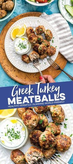 These Keftedes (Greek Meatballs) are crispy on the outside and super juicy within! Made with lean turkey mince, red onion, feta, wholemeal breadcrumbs, mint and oregano. Serve as appetiser or mezze spread with tzatziki and Greek salad or turn into a meal. Tzatziki, Healthy Meatballs, Quick Meals To Make, Greek Meatballs, Ground Turkey Recipes, Healthy Turkey Mince Recipes, Minced Turkey Recipes, International Recipes, Clean Eating Snacks
