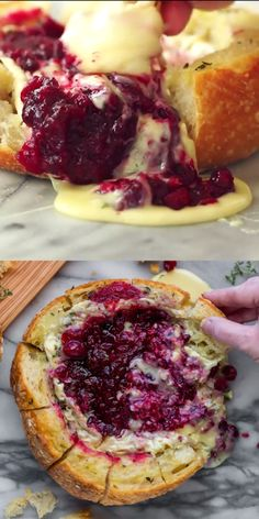 This tear apart Baked Cranberry Brie Bread Bowl is a beautiful holiday party appetizer. Melty brie and sweet tart cranberry sauce are a match made in heaven! Great Appetizer for New Years Eve, or Christmas Dinner! #bakedbrie #breadbowl #appetizer #bread #thanksgiving #thanksgivingrecipes #holiday #holidayrecipe #cranberry #brie #recipe #easyrecipe #christmasrecipe #newyearsrecipe