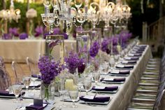 Purple Wedding Ideas for Tables | Purple Modern Luxe Wedding Tablescape - B. Lovely Events
