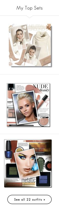 """""""My Top Sets"""" by lilmissmegan ❤ liked on Polyvore featuring Kendall + Kylie, Essie, Terre Mère, Stila, H&M, Balenciaga, Bobbi Brown Cosmetics, neutrals, beauty and Sephora Collection"""