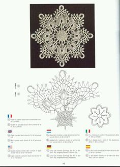 """Photo from album """"Creations Crochet D'or"""" on Yandex. Crochet Snowflake Pattern, Crochet Snowflakes, Crochet Motif, Crochet Patterns For Beginners, Easy Crochet Patterns, Crochet Designs, Lace Doilies, Crochet Doilies, Crochet Wedding"""