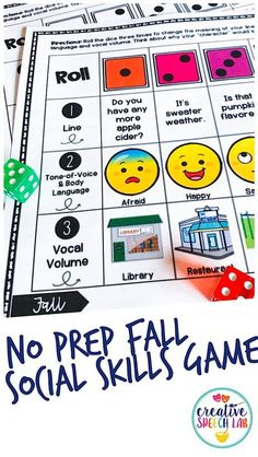 These fall hands on activities for kids target 16 speech, language and socials skills, and are great for engaging mixed groups in speech therapy! This fun set includes candy corn vocabulary activities, an easy 2-step STEM apple science experiment, apple vocabulary tangrams, a no prep seasonal social skills game, a simple sensory bottle craft and fall book recommendations! | Creative Speech Lab #handsonlearning #handsonspeechtherapy #fallspeechtherapy #socialskills #speechtherapy