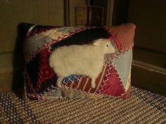 PRIMITIVE ~ SHEEP ON ANTIQUE CRAZY QUILT MINI PILLOW ~ ORIGINAL FOLK ART