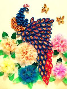 Ribbon/silk peacock art (wall hanger).
