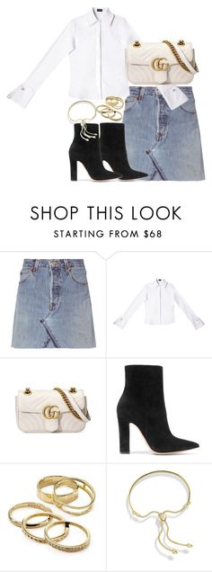 """""""Untitled #3441"""" by theeuropeancloset ❤ liked on Polyvore featuring RE/DONE, Gucci, Gianvito Rossi, Kendra Scott and Monica Vinader"""
