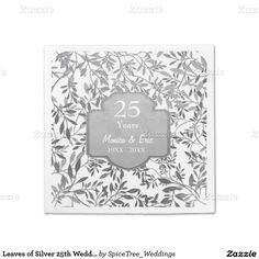 Leaves of Silver 25th Wedding Anniversary Napkins Standard Cocktail Napkin
