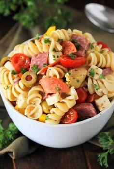 Amish Macaroni Salad | The Kitchen is My Playground Antipasto Pasta Salads, Tomato Pasta Salad, Greek Salad Pasta, Pasta Salad Recipes, Basil Pasta, Macaroni Salad Ingredients, Greek Salad Ingredients, Amish Macaroni Salad, Layered Taco Salads