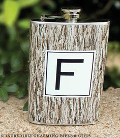 Personalized Flask - Tree Bark www.incrediblycharming.com