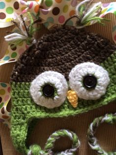 6 to 12  months Baby owl hat Ready to ship