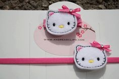 Hello Kitty Felt Embroidered Hair Clip by APMilton on Etsy, $2.50