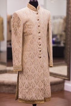 Beige Linen Silk Brocade Sherwani - WellGroomed Designs Inc Sherwani For Men Wedding, Wedding Dresses Men Indian, Wedding Outfits For Groom, Groom Wedding Dress, Sherwani Groom, Indian Wedding Wear, Bridal Outfits, Wedding Suits, Punjabi Wedding