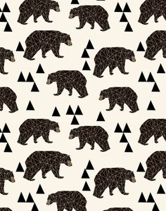 'Geo Bear' pattern by Andrea Lauren Art Print. Art And Illustration, Pattern Illustration, Illustrations, Polar Bear Illustration, Cool Patterns, Textures Patterns, Print Patterns, Pattern Art, Pattern Design