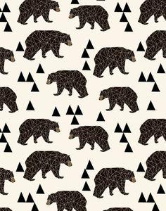 Geo Bear by Andrea Lauren Art Print