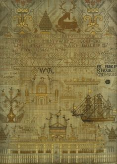 Needlework sampler ~ by Feanny(?) Ramsay ~ 9 years of age ~ 1791 ~ with verse, numbers and alphabet, alongside scenes including a three-masted frigate entitled 'The Margarit and Belle(?) of Montrose' and 'The Temple of King Solomon'