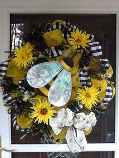 Bee deco mesh Wreath. $142.50, via Etsy.