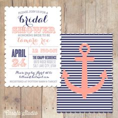 Vintage Nautical Scalloped Bridal Shower Invitation Printable Invite OR Printed Card