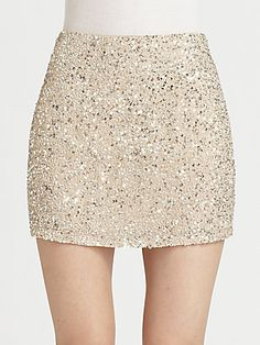Haute Hippie Silk Sequin Mini Skirt! Glammin' it up! #sakspov.com  For New years Eve... sexy