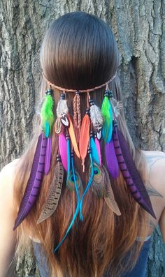 Bird of Paradise 2  Feather headband native by dieselboutique