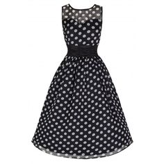 'Cindy' Classy Yet Sassy Black Polka Print Vintage 50's Party Dress ($39) ❤ liked on Polyvore featuring dresses, black, polka dot dress, vintage cocktail dress, black skater skirt, black cocktail dresses and black circle skirt