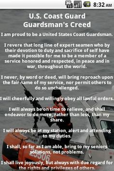 Coast Guard Creed (proud of Travis) Coast Guard Boot Camp, Coast Guard Wife, Coast Guard Auxiliary, Coast Gaurd, Future Jobs, Military Wife, Armed Forces, Troops, Marines