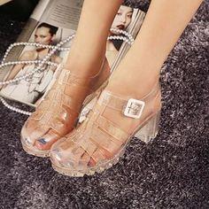 Koovan Women Sandals Summer Retro Crystal Thick Transparent Plastic Sandal T-Roman Jelly Shoes #JellyShoesCrystal