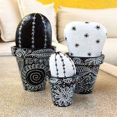 Cactus con piedras pintadas y macetas a juego