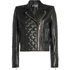 Balmain Embellished Leather Jacket (15.630 RON) ❤ liked on Polyvore featuring outerwear, jackets, black, balmain, quilted biker jacket, biker jacket, studded leather jacket and quilted leather jacket