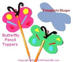 Free Kids Fun Foam Crafts: Butterfly Pencil Topper